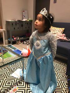 Cara role play as Queen Elsa
